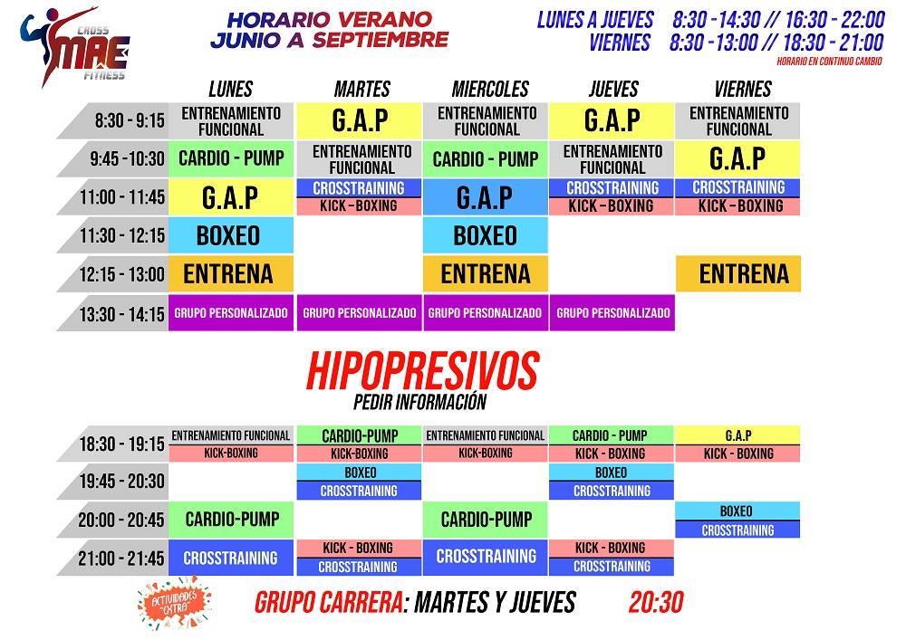 Nuevo Horario de Verano 2020 - De Junio a Septiembre