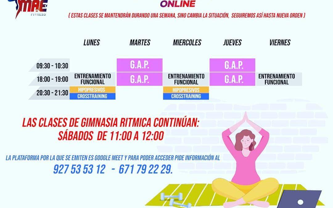 Horario de las clases On-Line de Cross MAE Fitness
